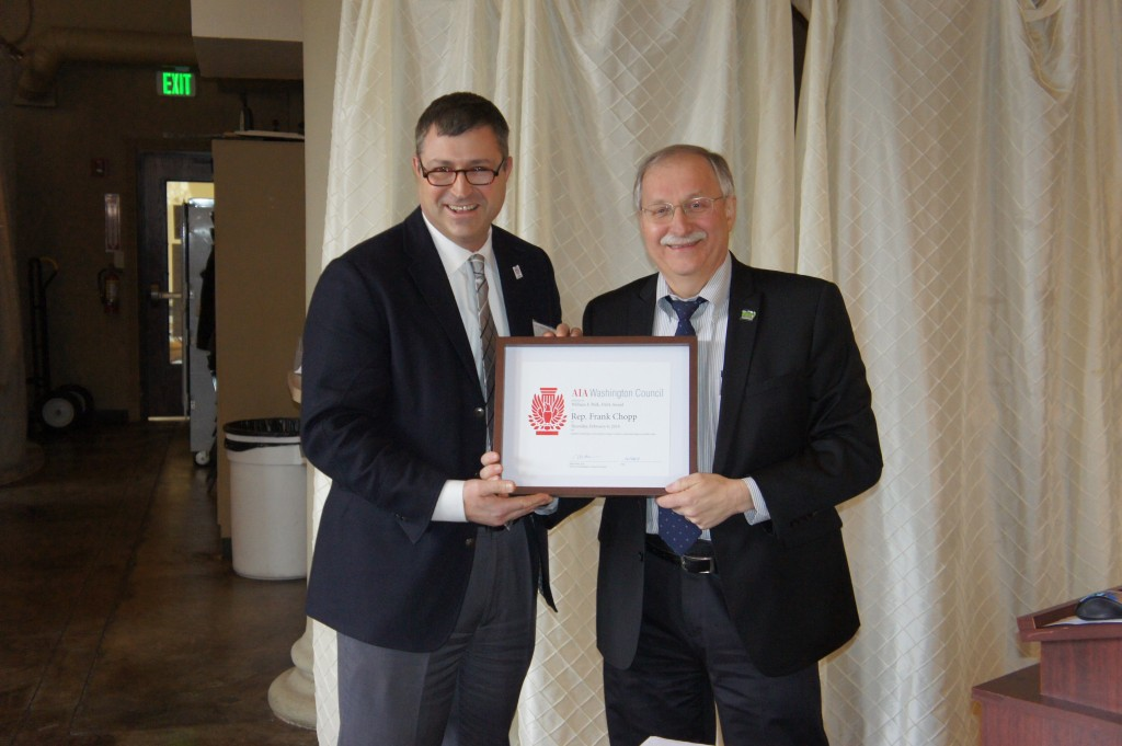 Rep. Frank Chopp receives William F. Polk FAIA Award from AIA/WA President Mike Slater, AIA